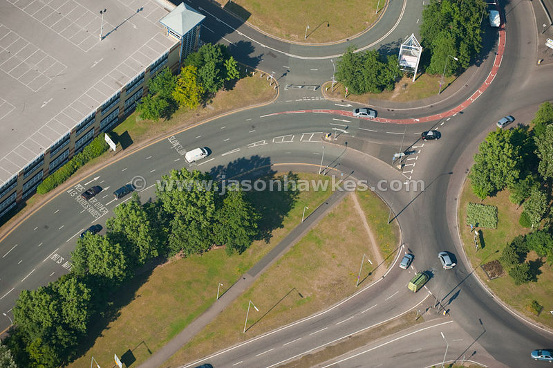 Aerial view of road junction
