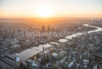 Aerial view of London The Shard with Financial buildings