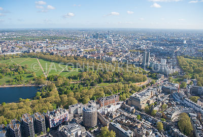 Aerial view of Knightsbridge, London. Hyde Park, Hyde Park Corner, Knightsbridge, london, Mayfair, Park Lane, St Paul's Church, The Berkeley Hotel, The Lanesborough Hotel, The Park Tower Knightsbridge Hotel, Wilton Crescent Gardens