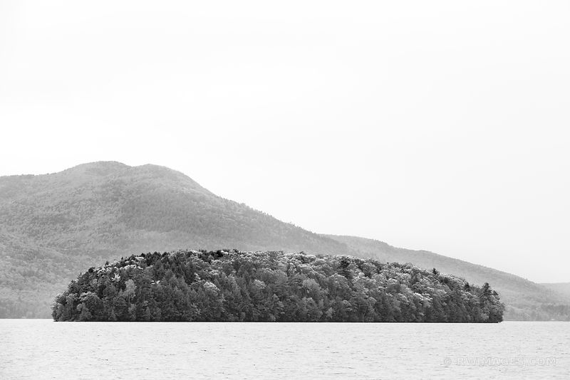 LAKE GEORGE FROM SAGAMORE GREEN ISLAND ADIRONDACK MOUNTAINS BLACK AND WHITE