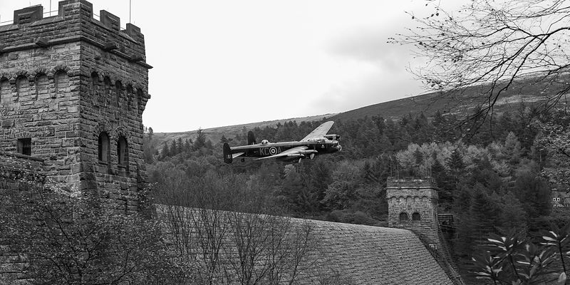 Lancaster PA474 KC-A at the Derwent Dam black and white version