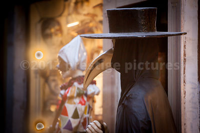 The Plague Doctor mask and Costume on a Mannequin at a Shop in Venice