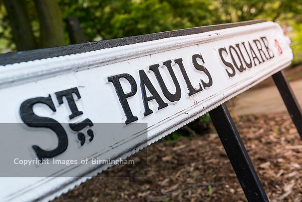 St Pauls Square, The Jewellery Quarter, Birmingham. Street sign.
