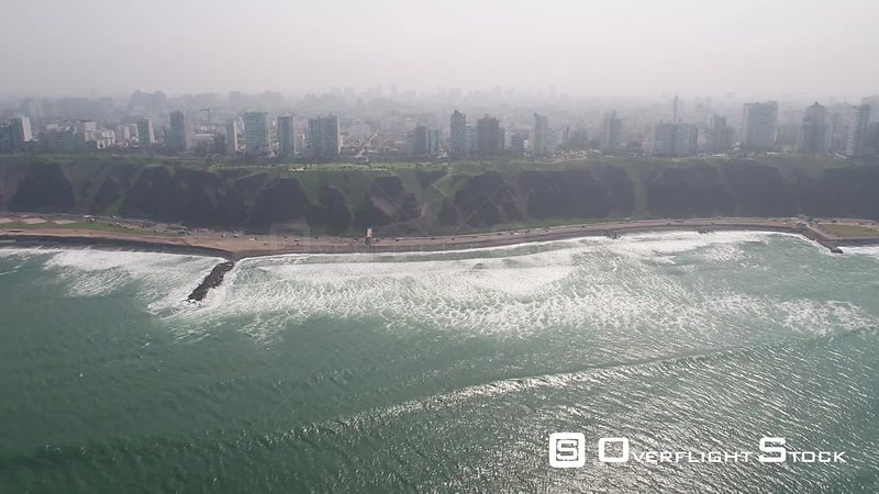 Aerial view of Milaflores, rich district of Lima, Peru