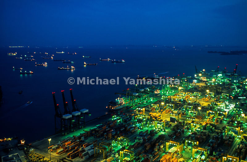 Singapore's container port vies with Hong Kong as Asia's and the world's #1 container port.