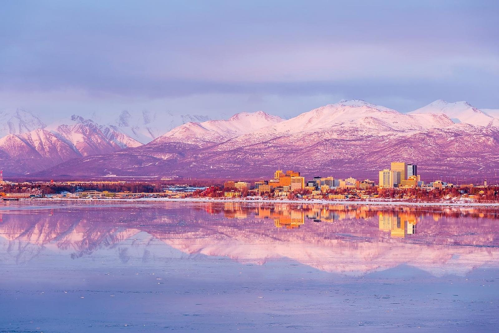 Downtown Anchorage Cityscape in Winter