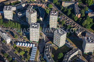 Aerial view of London, Bethnal Green housing tower blocks.