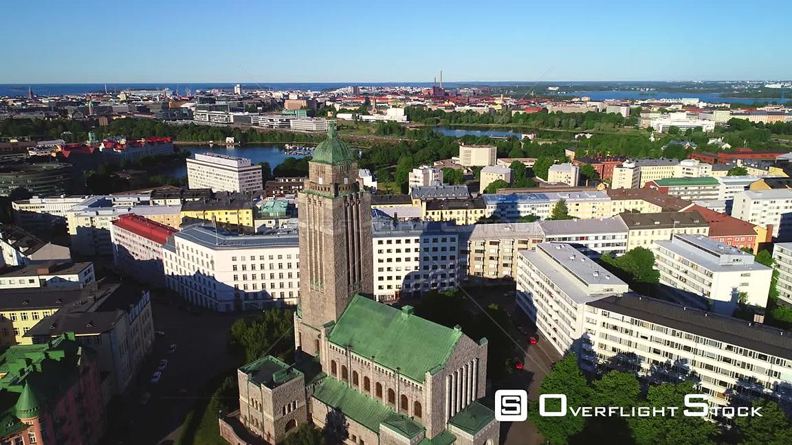 Helsinki Church, Uhd Aerial View Over the Kallio Cathedral, Revealing the City, on a Sunny Summer Morning Dawn, in Helsingfors, Uusimaa, Finland