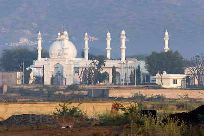 Beautiful white mosque at sunrise, Daurai Rural, Ajmer, Rajasthan, India