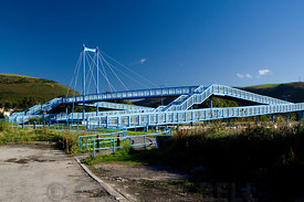 New bridge for pedestrians and cyclists crossing A4241 Port Talbot, South Wales.