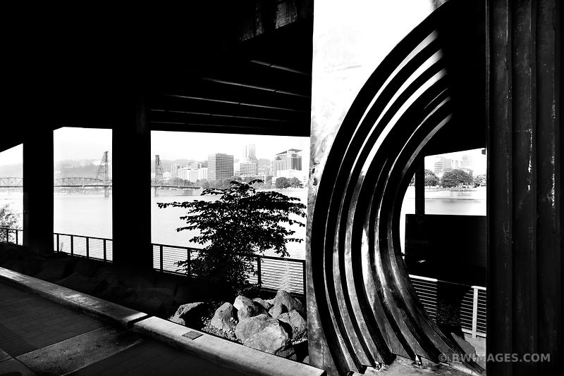 EASTBANK ESPLANADE PORTLAND OREGON BLACK AND WHITE