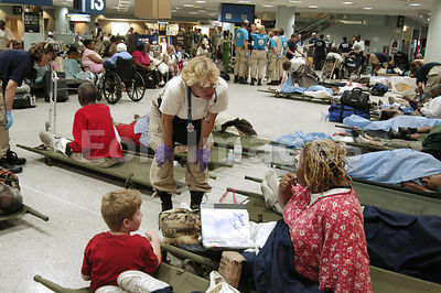 Hurricane Katrina evacuees from New Orleans at local airport