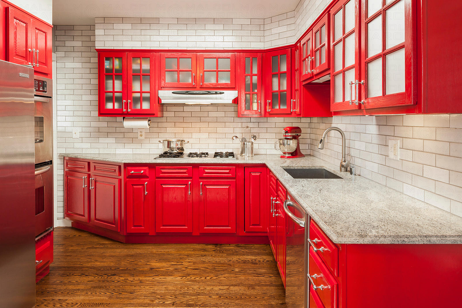 fireclay tile red kitchen
