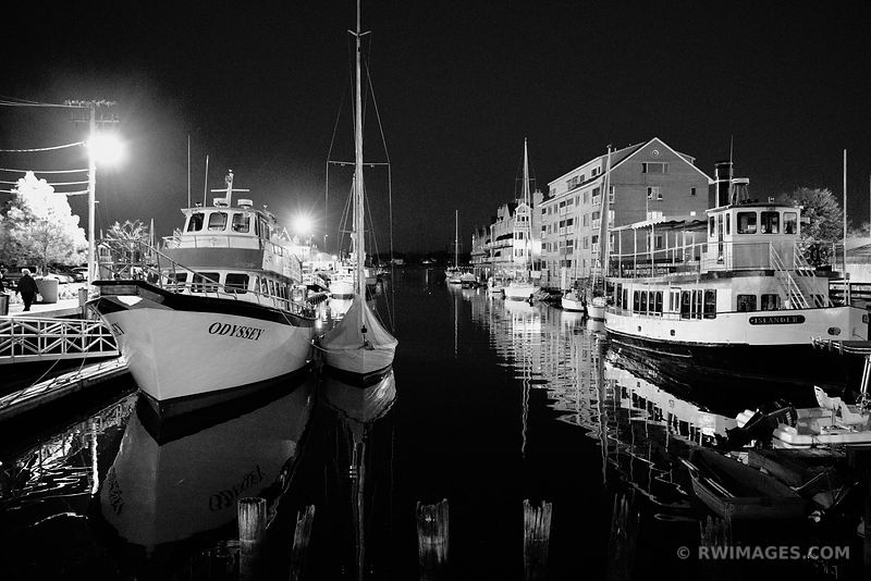 HARBOR PORTLAND MAINE AT NIGHT BLACK AND WHITE