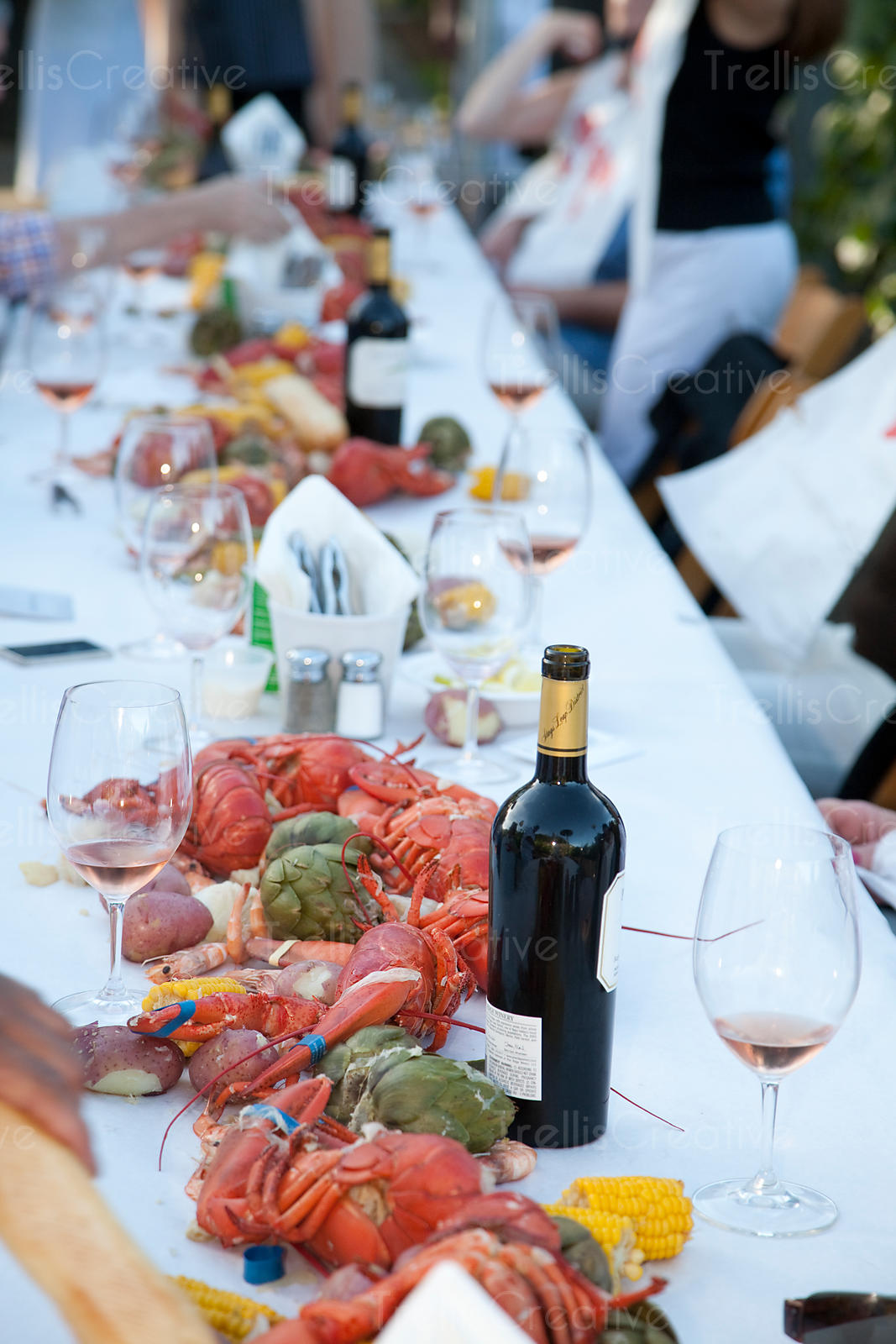 Winery lobster feed party with Napa Valley wine