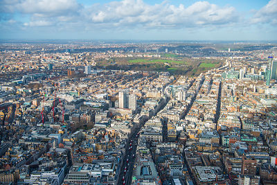 Aerial view of London, Mayfair towards Marylebone with Hanover Square.