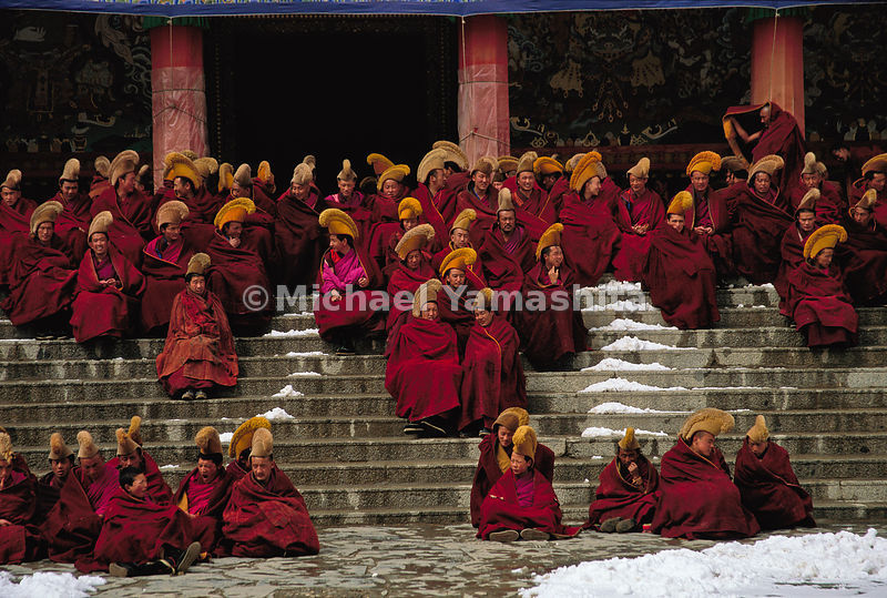 Monks of all ages wait for mornng prayers and the only meal of the day.