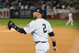 Derek Jeter played his final home game at Yankee Stadium in New York.
