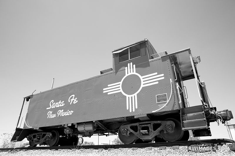 OLD CABOOSE TRAIN CAR SANTA FE NEW MEXICO NORTHERN NEW MEXICO BLACK AND WHITE