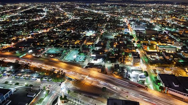 Tighter Bird's Eye: Highway 10 Cutting Through Downtown Los Angeles