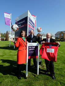 Taylor Wimpey Smithstone development, Croy..8.5.15.TW Sales and Marketing Director Audrey Ross pictured with John McCrimmond (shorter, white shirt) and Paul Crosbie (taller, purple shirt) from the Scottish Youth Football Association following their shirt sponsorship...Free PR use for Taylor Wimpey..More info and Press Release from:.Hazel Taylor at Red Angel PR..7 Bonaly Wester.Colinton.Edinburgh.EH13 0RQ.Tel: 0131 441 9803.M: 07709 317 289.hazel.taylor@redangelpr.co.uk..Pictures Copyright: Iain McLean.79 Earlspark Avenue.G43 2HE.07901 604 365.www.iainmclean.com.photomclean@googlemail.com.07901 604 365.ALL RIGHTS RESERVED.NO SYNDICATION.