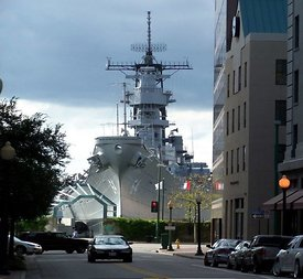 USS Wisconsin on the downtown Norfolk waterfront