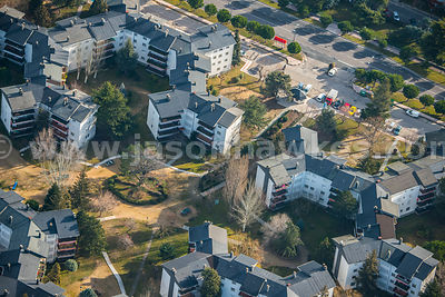 Aerial view of apartments in Madrid, Spain