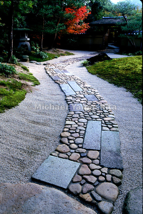 Stone footpaths convey the mood of a garden