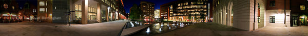 360 degree panoramic of Brindleyplace at night, Birmingham, England UK