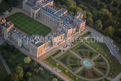 Aerial view of Windsor Castle and gardens.