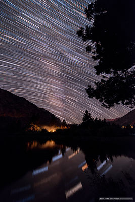 Camp fire startrail - Intake 2 Lake - California