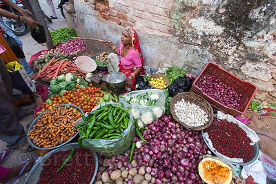 Organic produce for sale at a vegetable market, Pushkar, Rajasthan, India