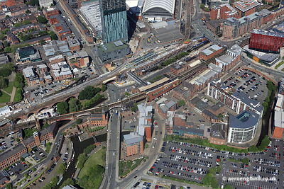 aerial photograph of Deansgate  Manchester England UK.