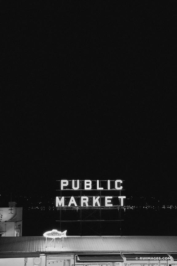 PUBLIC MARKET SEATTLE BLACK AND WHITE
