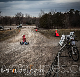 Lone rider in red at Tour of Bronte, Oakville, On, April 6, 2013
