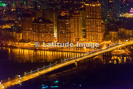 Moscow, Russia. 'Alye Parusa' ('The Scarlet Sails') Residential Estate and Stroginsky Bridge.