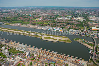 Aerial view of London City Airport, London
