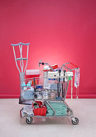 Medical supplies in shopping cart