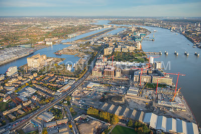 Aerial view, Pontoon Dock, City Airport, Royal Victoria Dock, Thames Barrier Park, London.