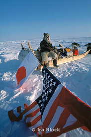 Japanese explorer, Naomi Uemura at the North Pole