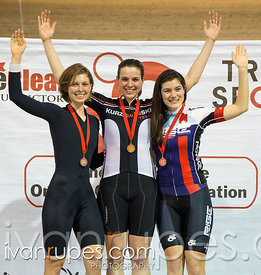 Women Individual Pursuit Podium. Ontario Track Provincial Championships, March 4, 2016