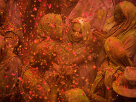 Widows play holi and also celebrate their liberation from the age old societal practice that excluded them from any auspicious event. Holi celebration of the widows in Vrindavan was started by the efforts of an NGO called Sulabh International in 2013. This photograph was shot at the Gopinath temple in Vrindavan.