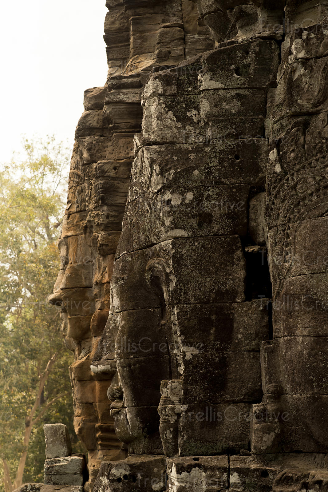 Buddha faces carved at Bayon Temple, Cambodia