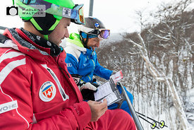 Discussion with a german team member on the chairlift.