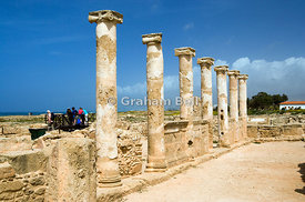 ancient columns house of theseus archaeological park paphos cyprus