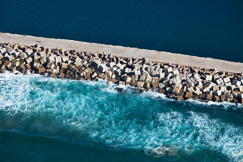 Aerial photograph of Durban Harbour breakwater, KwaZulu-Natal Province, South Africa, May 2010