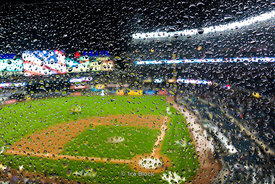 A rainy day at Yankee Stadium in The Bronx, New York City