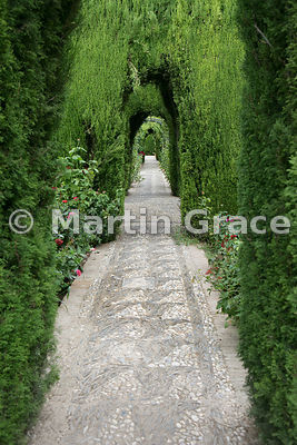 Walk in the Generalife Lower Gardens, Granada, Andalusia, Spain