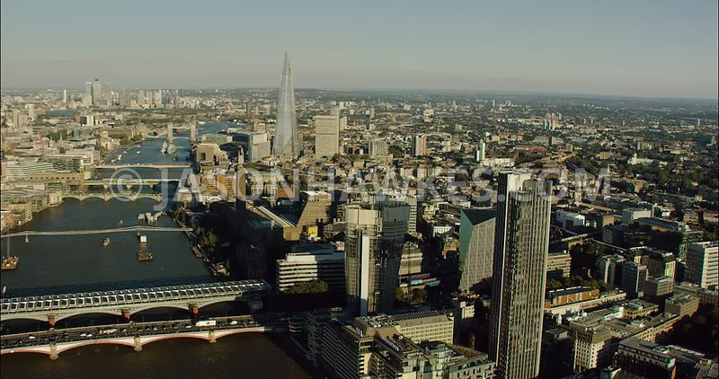 London Aerial Footage of Blackfriars Bridges and River Thames