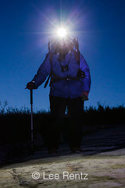 Hiker with Headlamp on Potato Harbor Road on Santa Cruz Island